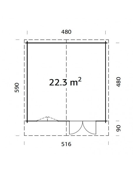 Abri de jardin Britta 23 m² - Bois massif 40 mm