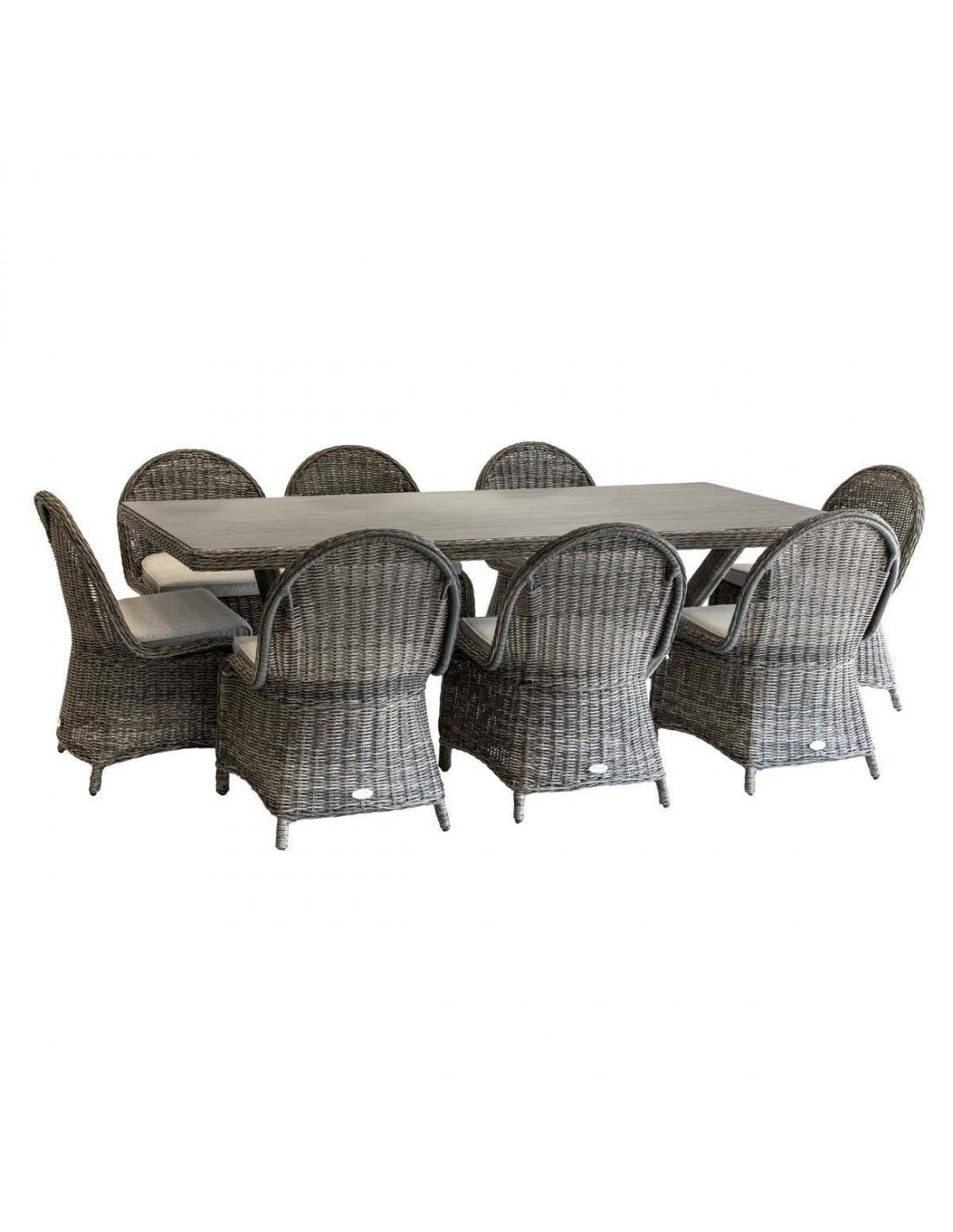 Table de jardin Betong 8 places résine tressée Hespéride