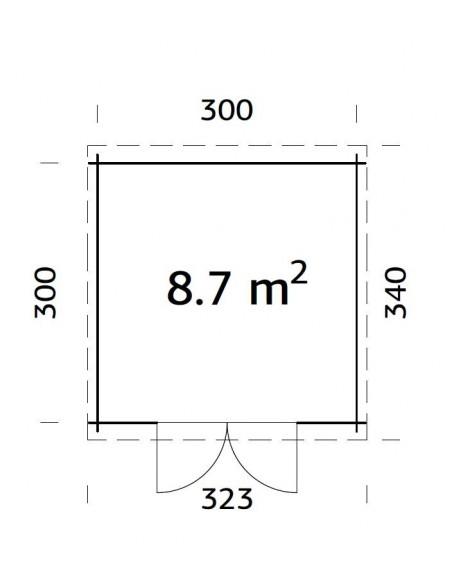 Abri de jardin Ella 9 m² - Bois massif 28 mm