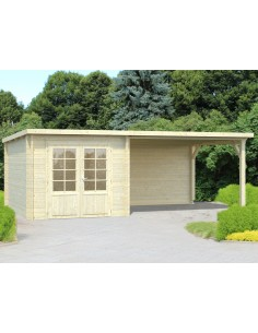 Abri de jardin Ella 7.2 m² + avancée de 10.9 m² - Bois massif 28 mm
