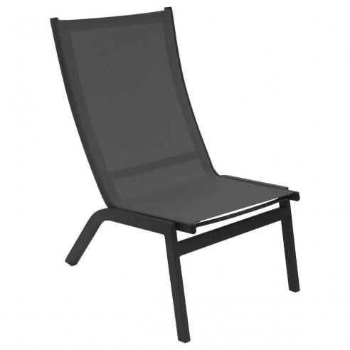 Chaise relax jardin Forro Aluminium anthracite - Hespéride