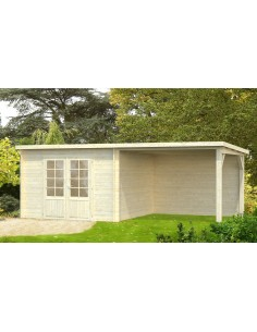 Abri de jardin Ella 9 m² + avancée de 9 m² - Bois massif 28 mm
