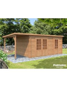 Abri de jardin Ella 13.5 m² + avancée de 4.5 m² - Bois massif 28 mm