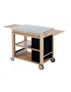 Chariot mobilot pour plancha - en chêne brossé et inox - Eno