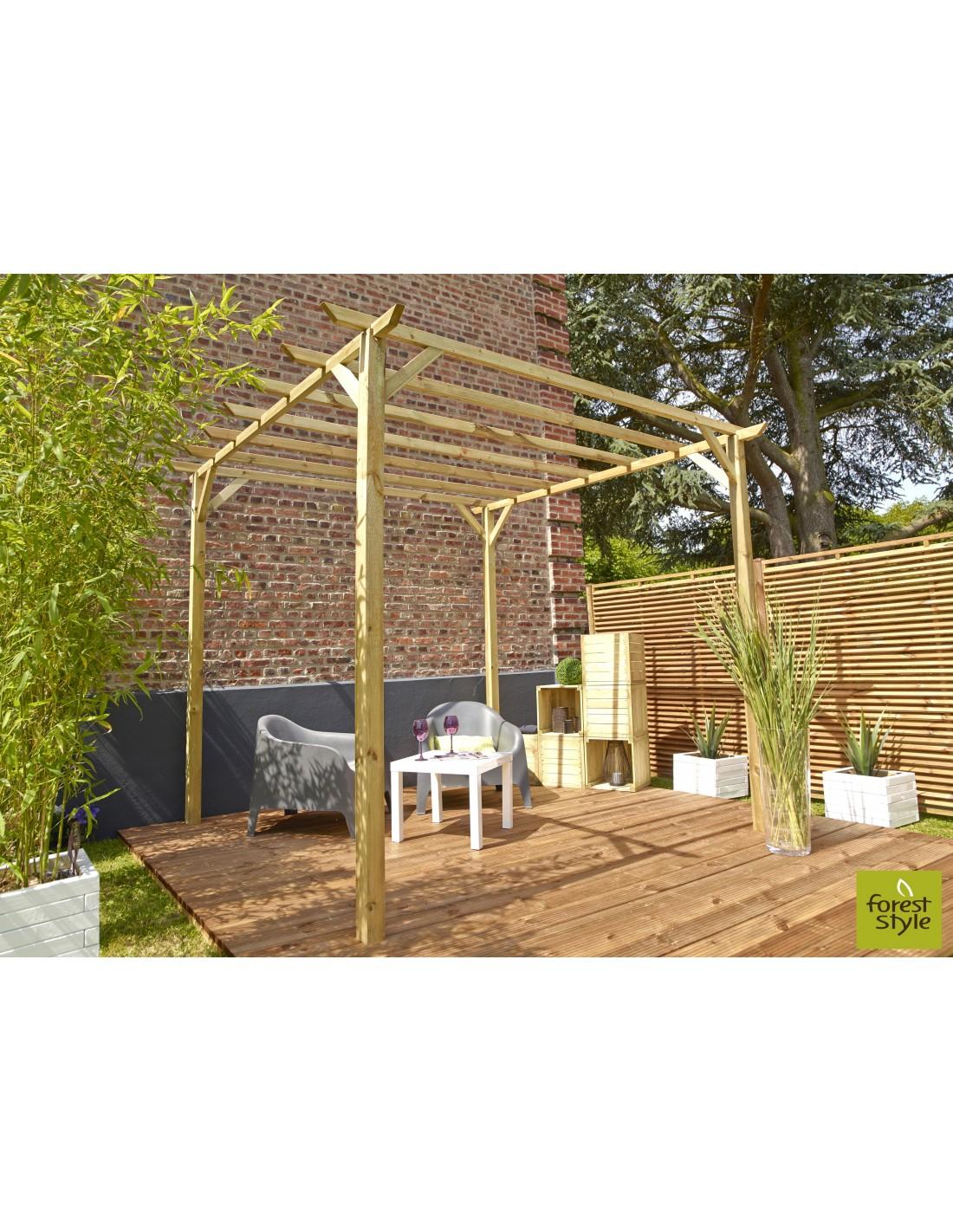 pergola ancolie 3x3xh25 m bois traité autoclave  serres