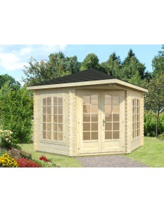 Tonnelle de jardin Mélanie 7.8 m² avec plancher - Bois massif 28 mm