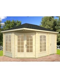 Tonnelle de jardin Melanie 10.7 m² avec plancher - Bois massif 28 mm