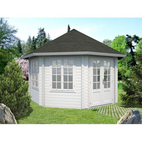 Tonnelle de jardin Hanna 14.1 m² avec plancher en bois massif 44 mm