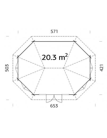Tonnelle de jardin Hanna 20.3 m² avec plancher - Bois massif 44 mm