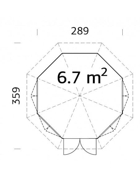 Tonnelle de jardin Véronica 6.7 m² avec plancher - Bois massif 28 mm