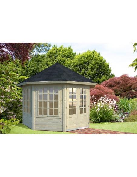 Tonnelle de jardin Véronica 9.2 m² avec plancher - Bois massif 34 mm