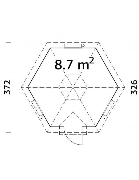 Yourte grill Kota Eva 8.7 m² avec plancher