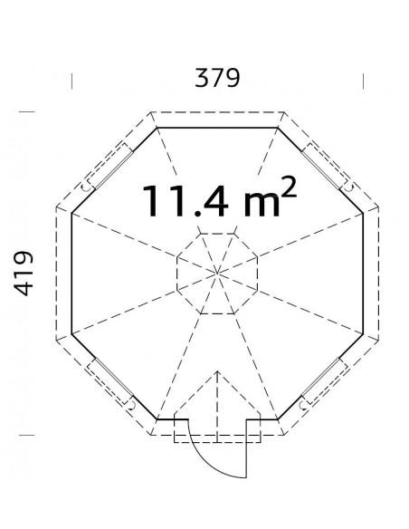 Yourte grill Kota Eva 11.4 m² avec plancher
