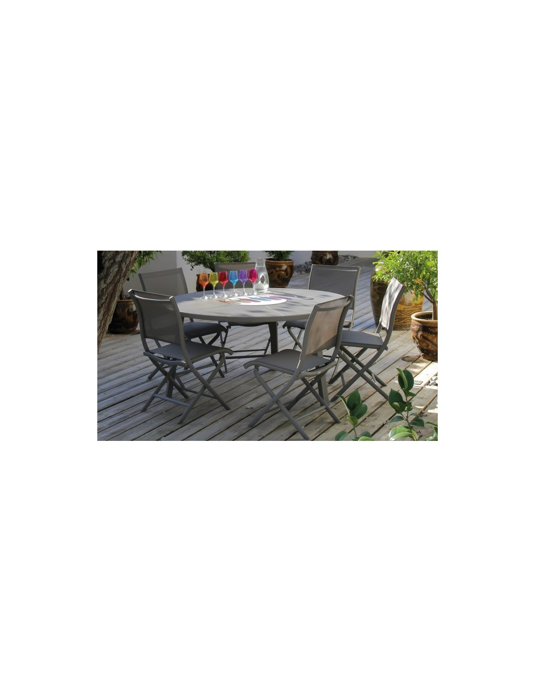 table de jardin azur ronde grey s ou taupe 150 cm avec plateau tournant oc o. Black Bedroom Furniture Sets. Home Design Ideas