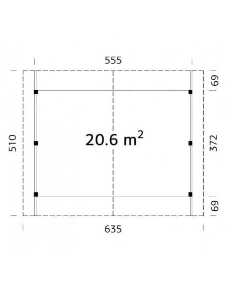 Carport Robert 32.4 m² - Poteaux 12x12 bois lamellé-collé