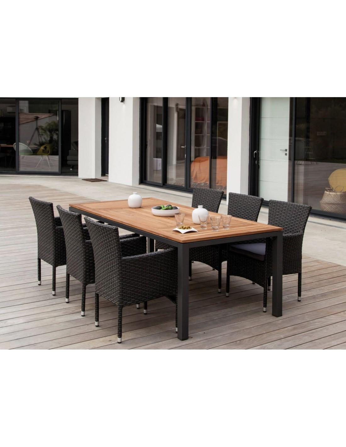 Table de jardin Tempo 180x90 cm en aluminium et Teck FSC - Proloisirs