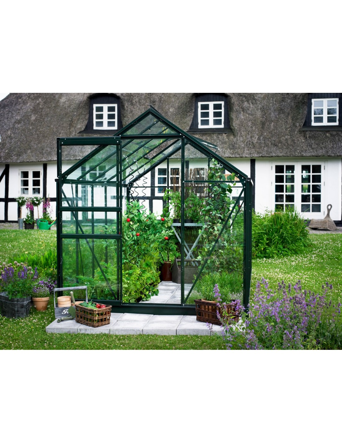 Serre de jardin popular 3 8 m laqu e verte verre horticole de 3 mm - Serre de jardin en verre horticole ...