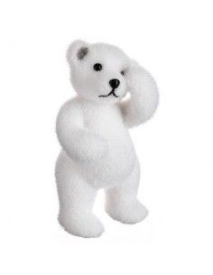 Ours blanc triste debout 20 cm - Feeric