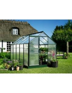 Serre de jardin Popular 6,2 m² laquée verte - Polycarbonate de 4 mm