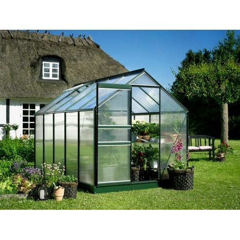 Serre Popular HALLS 6.2 m² laquée verte - Polycarbonate de 4 mm