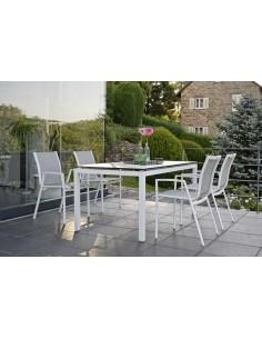 Table Stern 160 x 90 cm Aluminium Blanc - Plateau HPL au choix