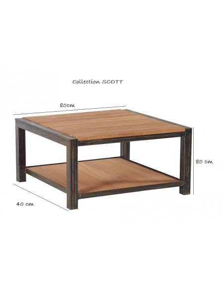 table basse carree scott double plateau chene et metal 80 x 80 cm casita