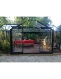 Orangerie Aurélie ACD 10.3 m² laquée noire - Verre trempé sécurit+parois droites