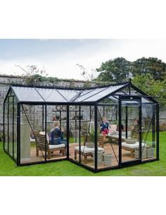 Orangerie Babette ACD 15.4 m² laquée noire en verre trempé sécurit