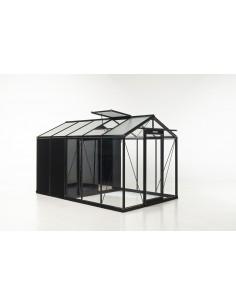 Serre Combo R205H ACD 8.61 m² laquée noire - Verre trempé sécurit 4 mm