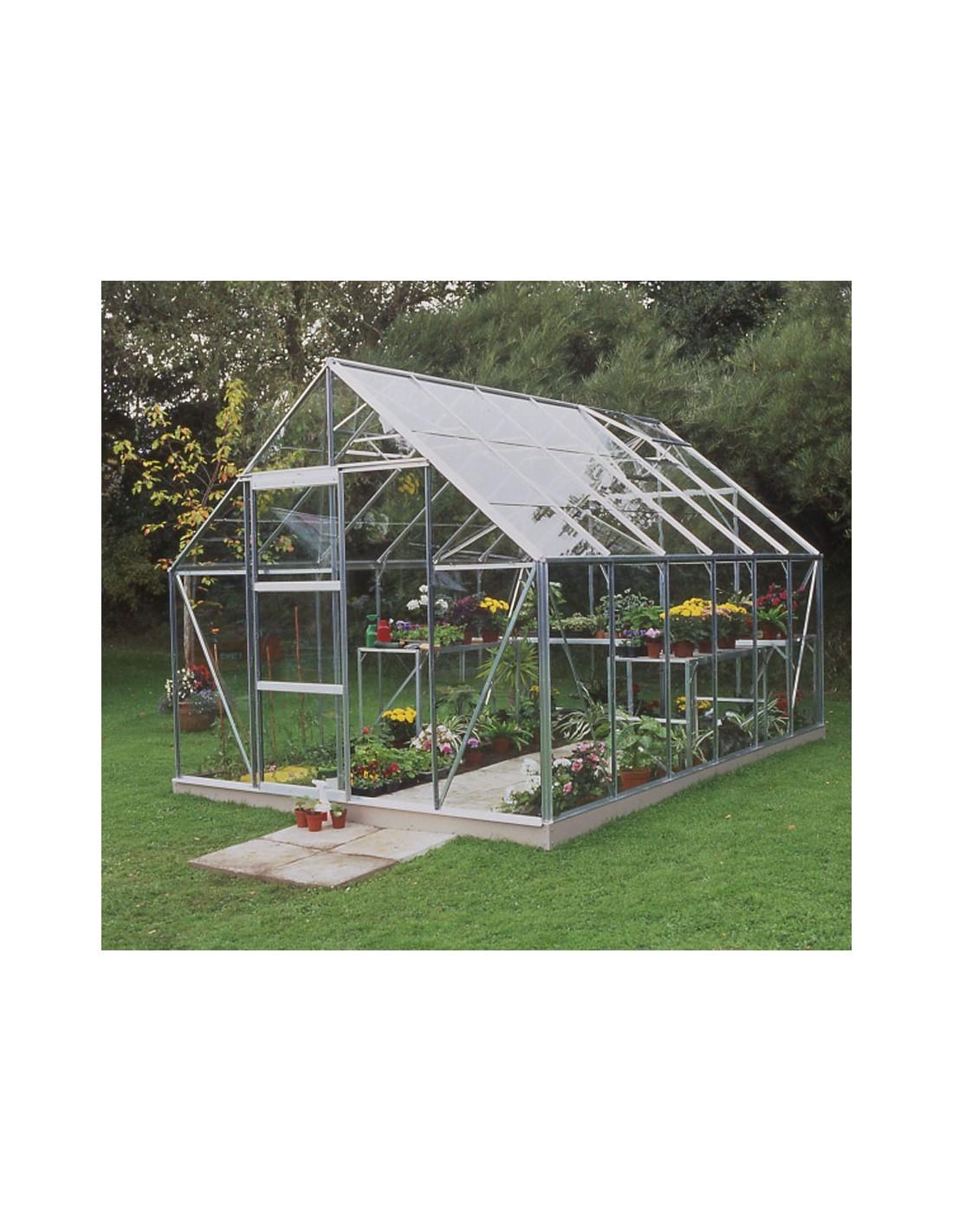 Serre de jardin universal 9 9 m verre horticole de 3 mm - Serre de jardin en verre horticole ...