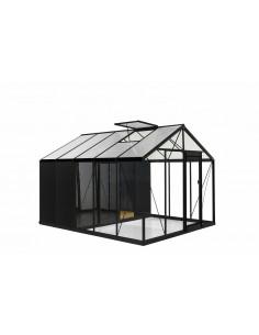 Serre Combo R305H ACD 11.35 m² laquée noire - Verre trempé sécurit 4 mm