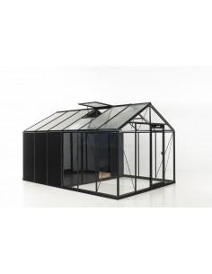 Serre Combo R306H ACD 13.62 m² laquée noire - Verre trempé et parois droites