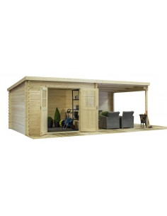 Abri de jardin Elody 17 m² avec auvent bois massif 28 mm