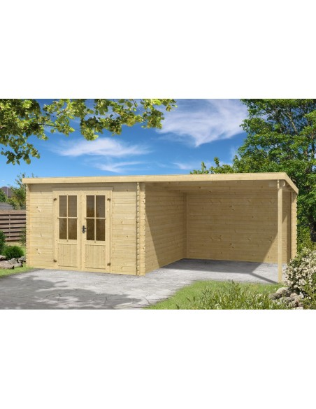 Abri de jardin Orlando 17 m² avec auvent - Bois massif 28 mm