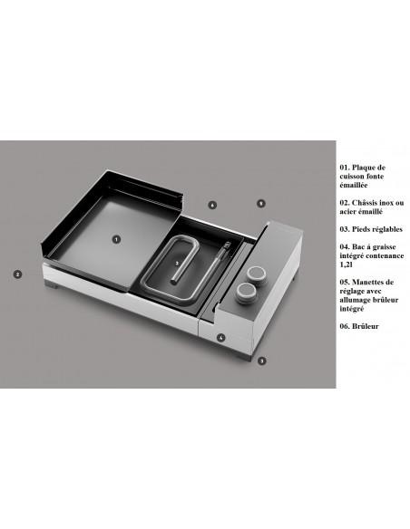 Plancha Premium 45 à gaz chassis Inox - Forge Adour