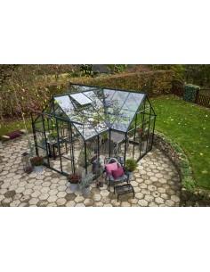 Serre Garden Room 12.9 m² verte en verre trempé sécurit 3 mm - Halls