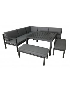 Salon de jardin Royan d'angle - 8 places - Aluminium Gris - Proloisirs