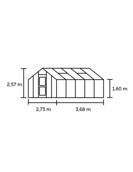 Serre Junior JULIANA+verre trempé de 3 mm - Naturel ou anthracite 9.9 ou 12.1 m²