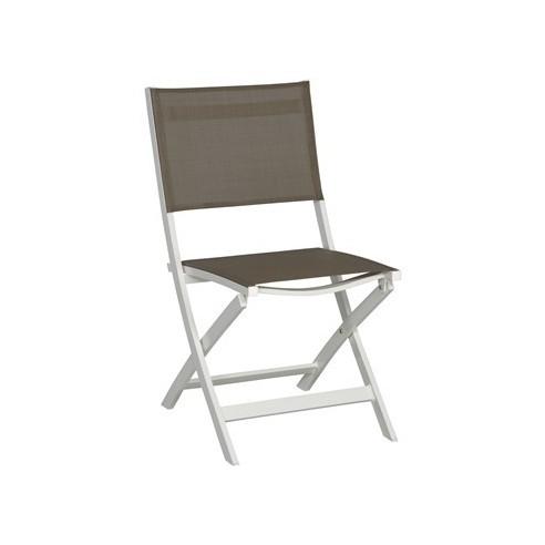 Chaise pliante joe aluminium blanc assise textil ne taupe - Chaise pliante salon ...