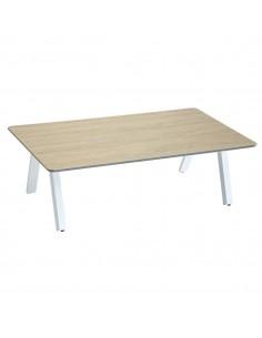 Table basse Barcelone effet bois - L.100 x P.60 cm - Aluminium et HPL - Hespéride