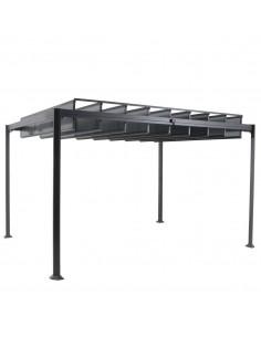 Tonnelle Belize graphite 3 x 3.8 m - aluminium et polycarbonate