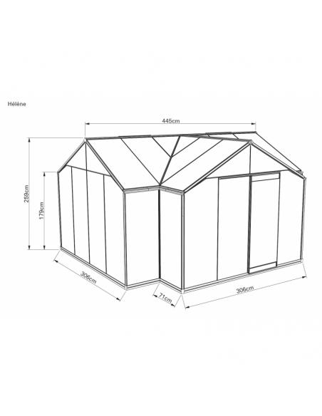 Orangerie ACD Hélène 15.8 m² laquée noire en verre trempé sécurit