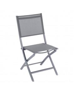 Chaise de jardin pliante Essentia - Aluminium gris Quartz Texaline ardoise