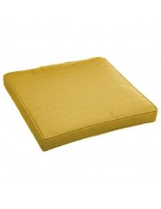 Galette de chaise carrée L.40 x P.40 x H.4 cm déhoussable - moutarde
