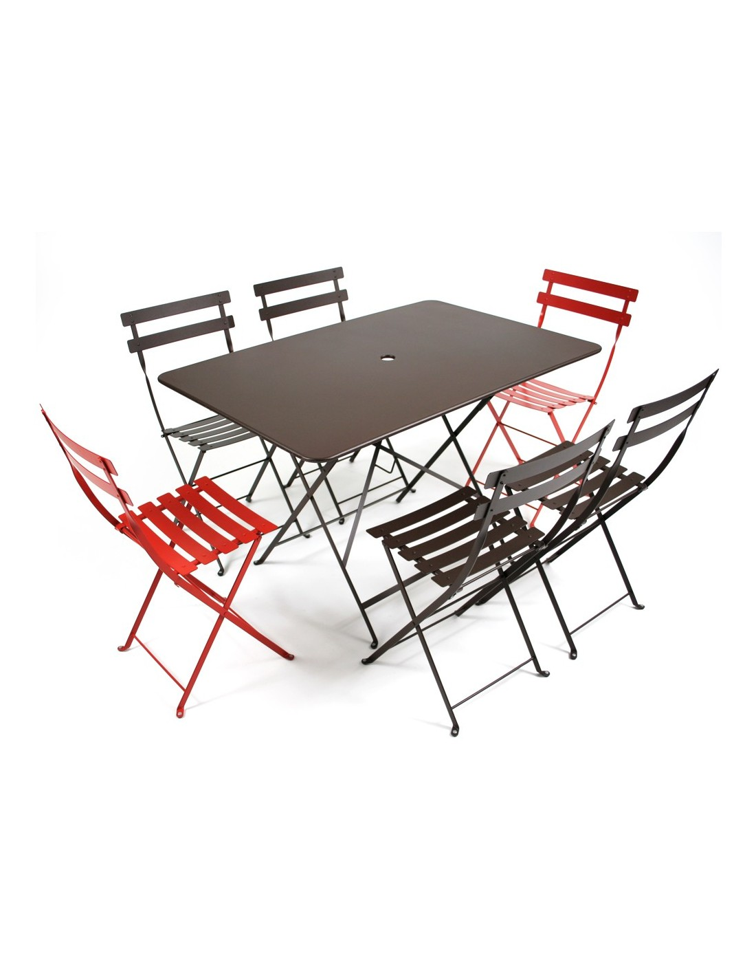 Table pliante m tal rectangle 117x77cm bistro coloris au for Fermob table de jardin