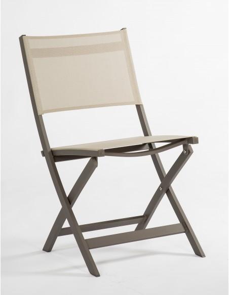 Chaise pliante Joe Stern - Aluminium taupe assise textilène crème