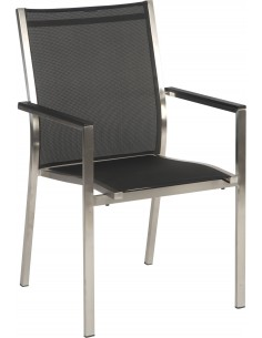 Fauteuil Stern Cardiff structure Inox assise textilène noir ou taupe