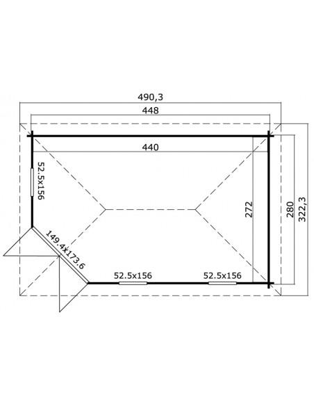 Abri de jardin Edinburgh 11.4 m² avec plancher bois massif 40 mm