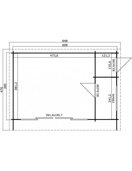 Abri de jardin Java 23.7 m² avec plancher bois massif 44 mm