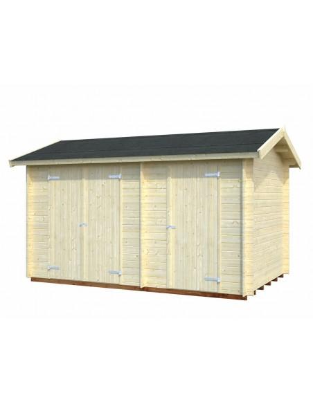 Abri de rangement Jari 9.4 m² avec deux compartiments et plancher en bois massif 28 mm